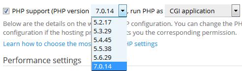 Pas de PHP-versie aan